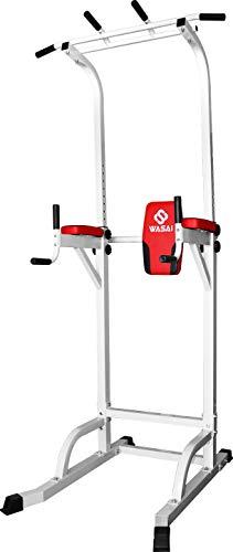 WASAI(ワサイ)懸垂マシンマルチジムぶら下がり健康器【高さ220CM/10段階調節/耐荷重150kg】(白/黑)懸垂器具筋肉トレーニング背筋腹筋大胸筋MK580(WHITE)
