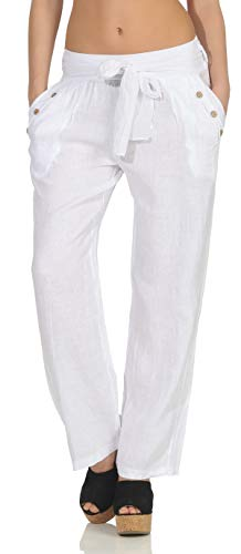Malito Femmes Pantalon Lin Pantalons en Toile Loisir Plain Couleurs 8174 (Blanc, XXL)