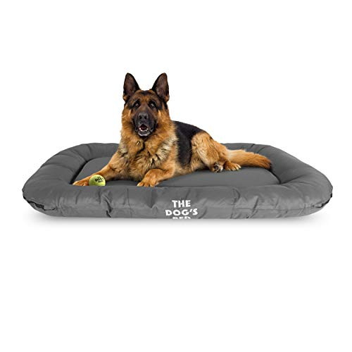 The Dog's Bed, Premium Waterproof Dog Bed, Large, Quality, Durable Grey Oxford Fabric, Tough YKK Zippers, Washable Reversible Cover, Dog Beds for Home Car Crate & Outside, Puppy & All Pet Comfort