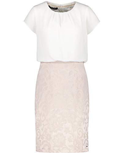 Taifun Damen Kleid Mit 2-in-1 Optik Figurumspielend Lila/Pink/Braun Ringel 42