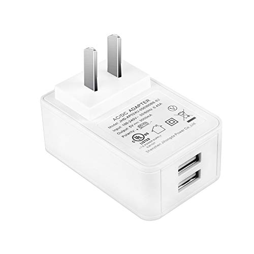 Gowoops 5V 3A Dual USB Port Power Supply (UL Listed)