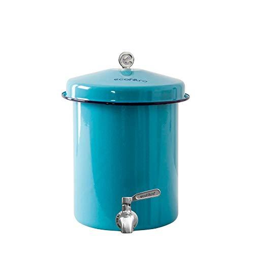 Ecofiltro Purificador y Dispensador de Agua Peltre Mini (05.5 L) Celeste Llave de Acero