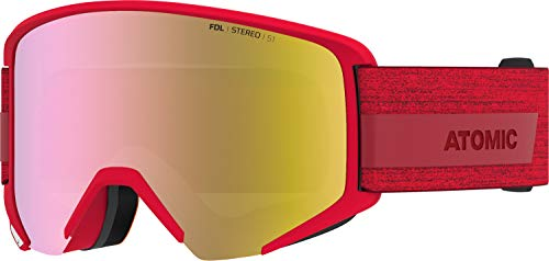 Atomic, All Mountain-Skibrille, Unisex, Für wolkiges Wetter, Large Fit, Kompatibel mit Sehbrille, Savor Big Stereo, Rot/Pink-gelb Stereo, AN5105984