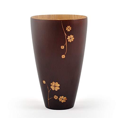 JIAYOUA Kaffeebecher, Hölzerne Becher, Geschnitzte Blumen, Hölzerne Teebecher Milch Zitronenschale