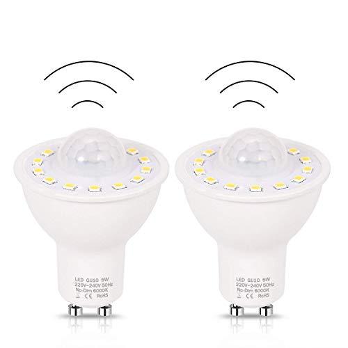 Sensor de movimiento PIR GU10 bombillas LED 5W, 50W Equivalente Día 500Lm 6000K blanca para Escaleras Garaje Corredor Paseo Pasillo-2pack,Daywhite6000k