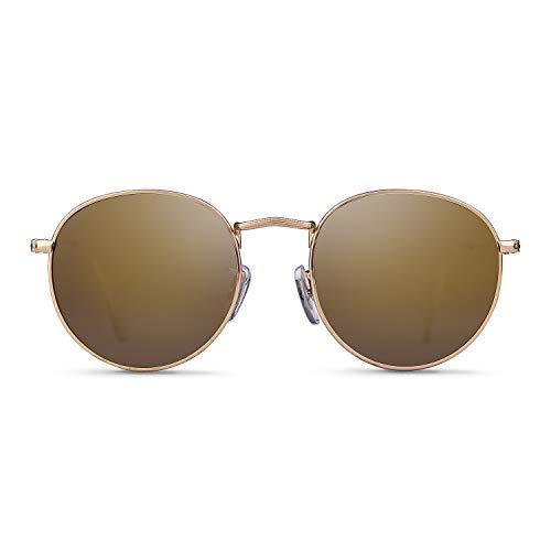 Lunettes de soleil rondes polarisées effet miroir lunettes de soleil tendance unisexe - Or - S