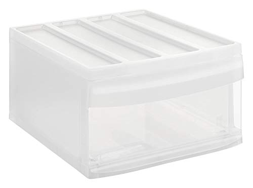Rotho Systemix Schubladenbox 1 Schub, Kunststoff (PP) BPA-frei, transparent, L (39,5 x 34,0 x 20,3 cm)