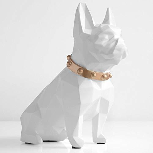 EDCV Leuke spaarpot spaarpot hars Hond beeldje woondecoratie munt opbergdoos, Wit