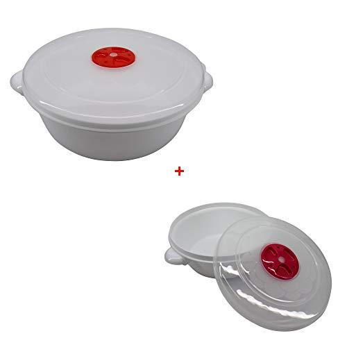 Cocotte magnetronschaal met ventiel, geschikt voor vaatwasser en vriezer 2 liter diameter 22 cm plus 1 liter diameter 17 - in totaal 2 eenheden
