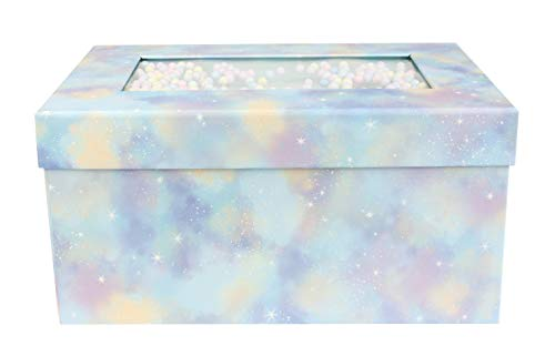 Emartbuy Starrer Luxus Rechteckige Präsentations Geschenkbox, 25 x 16 x 11 cm, Blaues Pastell Box Mit Deckel, Schokoladenbraunes Interieur Und Mehrfarbige Kugeln Dekoration