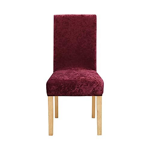 Amazon Brand - Umi Fundas para sillas de Comedor elásticas Suave Rojo(Juego de 6)