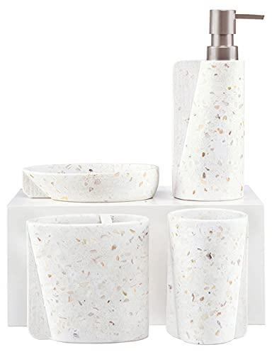 SUHU Juego de 4 Accesorios de Baño y Lavabo de Concha Natural con Bote Dosificador Jabon Liquido o Dispensador de Loción Jabonera Redonda Vasos Porta Cepillo de Dientes Moderno Blanco+Dorada Rosa