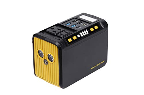 ROCKSOLAR Portable 80W (Peak 120W) Power Station with LED Flashlight, 74Wh, 20000 mAh, Lithium Ion Battery, CPAP Home, Camping Emergency Backup, 5 USB, 1 DC Output, Charge by Solar and AC