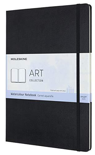 Moleskine - Aquarell Notizbuch - Klassisches Wasserfarben Notizbuch, Papier geeignet für Aquarellstifte und Farben, Hardcover, A3 Format 29,7 x 42 cm - Farbe Schwarz, 60 Seiten