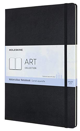 Moleskine Art Watercolor Notebook, Hard Cover, A4 (8.25' x 11.75') Plain/Blank, Black, 60 Pages