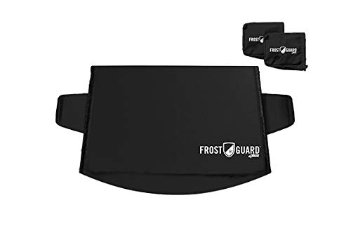 FrostGuard Plus Winter Windshield + Mirror Covers - Weather Resistant - Security Panels and Wiper Blade Cover - Protects from Snow, Ice and Frost (Standard, Black)