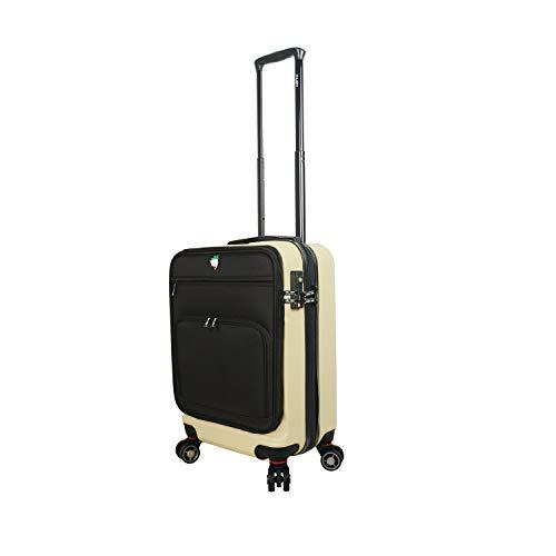 Mia Toro Italy Lumina Hardside Spinner Luggage Carry-on, Cream, One Size
