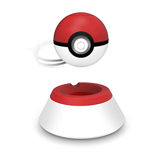 Controller Charger Dock, Megadream Charging Stand Bracket Compatible with Nintendo Switch Poke Ball Plus, Pokemon Lets Go Pikachu Eevee w/ 2.6ft Type-C Charge Cable & Non-Slip Pad White & Red