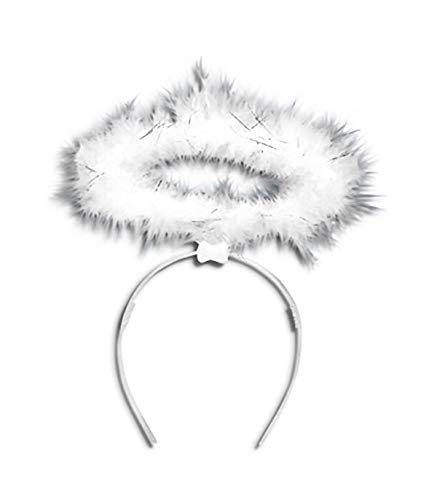 New Ladies Fluffy Angel Fairy Halo Headband Accessories Hen Night and Xmas Fancy Dress Parties (White)