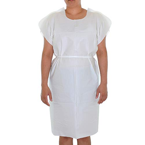Dealmed Patient Exam Gowns, Tissue/Poly/Tissue 3-Ply, Latex-Free, Disposable, Universal, 30
