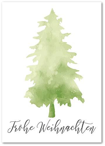 Lasse und Lucie 10 Grußkarten zu Weihnachten/Weihnachtskarten im Set mit Motiv Tanne Aquarell/Format DIN A6 hochwertig gedruckt mit Glanzlack veredelt (Tanne Grün)