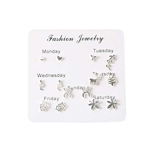 Mingfa 7 Pairs Of Simple Travel Set Earrings Temperament Fashion Earrings for Women Girls(E,Free Size)