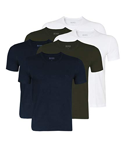 Hugo Boss Herren T-Shirts Business Shirts Crew Neck 50325887 6er Pack, Größe:M, Artikel:-399 White/Blue/Open Green