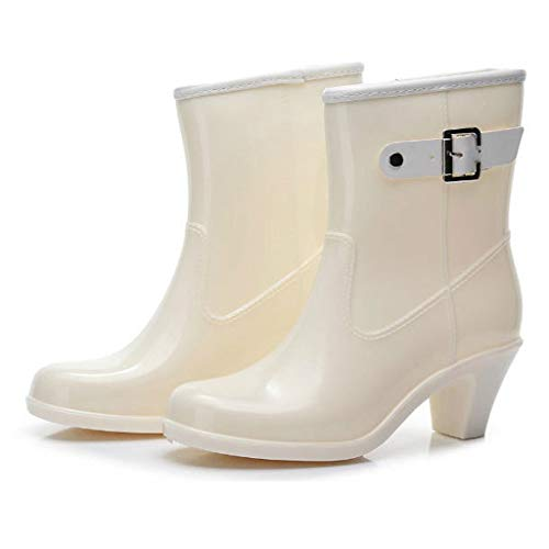 Becoler Store Women's High Heel Rain Boots, Anti-Slip Mid Calf Rain Shoes Outdoor Work Travel