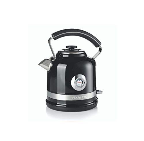 Ariete 2854 Bouilloire électrique moderne, 2000 W, capacité 1,7 L, sans fil, 360°, système d'arrêt automatique, filtre amovible, niveau d'eau visible, thermomètre Noir
