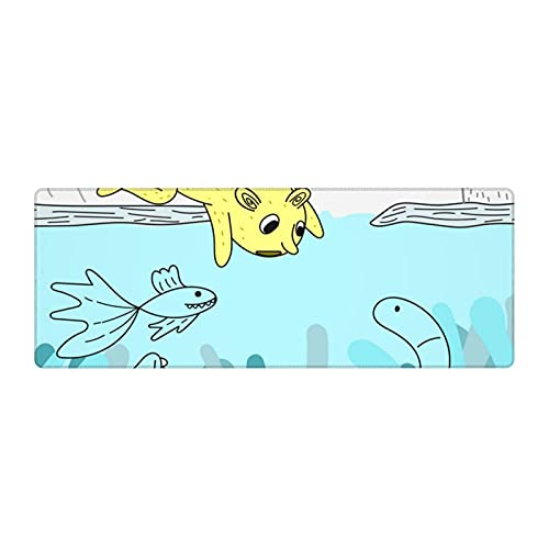 Animal Underwater Zoo Large Gaming Mouse pad,, with Non-Slip Base (11.8x31.5 inches), Comfortable, Foldable, Suitable for desktops, laptops, Keyboards, etc.