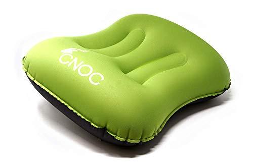 CNOC Premium ultraleichtes aufblasbares Reisekissen & Camping Kissen | Outdoor Kissen - ideal für Camping, Garten, Strand, Urlaubsreise,Outdoor, Büro, Reise - wasserfest & komprimierbar - grün - 85 gr