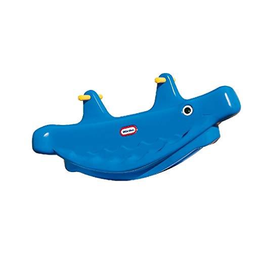 Little Tikes BaleineTeeter Totter - Jeu Actif pour les Enfants - Poignées facile à attrapper & Selle Stable et Sécurisée- Peut accueillir 3 enfants- Construction Durable - Bleu
