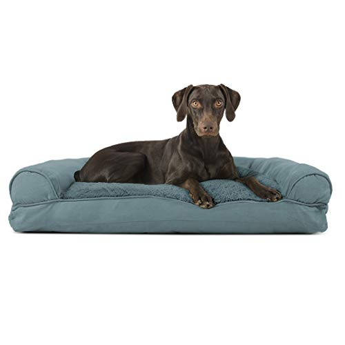 Furhaven Pet Dog Bed - Ultra Plush Faux Fur and Suede Pillow Cushion Traditional Sofa-Style Living Room Couch Pet Bed with Removable Cover for Dogs and Cats, Deep Pool, Large -  25436089