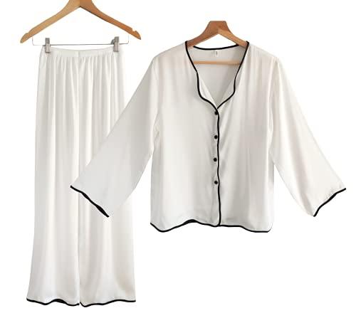 Laura Lily - Pijamas Mujer de 2 Piezas Camisa con Botones y Pantalones Largos de Seda Satén, Suave, Cómodo, Sedoso y Casual. (Blanco, M-L)