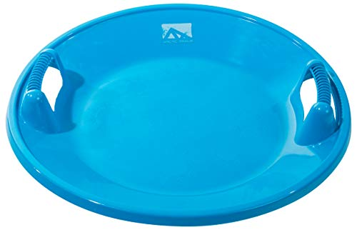 Franklin Sports Arctic Trails Snow Saucer - Snow Sled for Kids - Two Handle Plastic Saucer for Snow