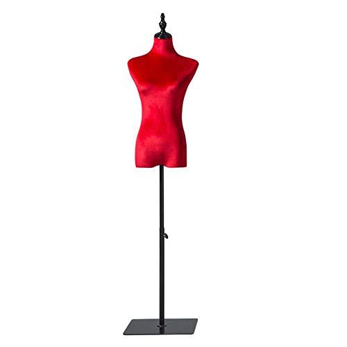 LLSS Forma de Vestido Rojo para Mujer, Medio Torso de maniquí para Mujeres pequeñas para Ropa, Vestido de Novia, Altura Ajustable 130-180cm