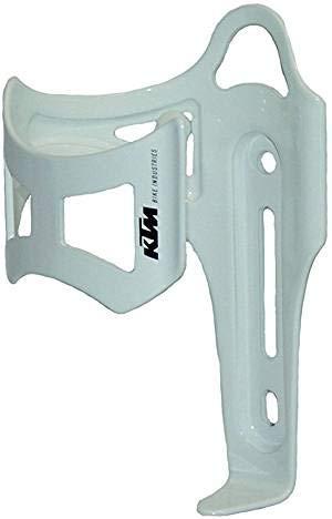 KTM Alu Fahrrad Trinkflaschen Flaschenhalter seitliche Entnahme weiß inkl. Bisomo Sticker