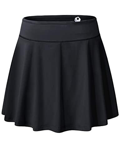 Blevonh Women's Tennis Skort Active Pleated Skirts with Pocket for Running Golf Black 3XL