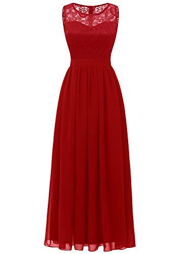 Dressystar 0046 Abendkleid Basic Chiffon Spitzen Ärmellos Brautjungfernkleider Bodenlang Rot XXL