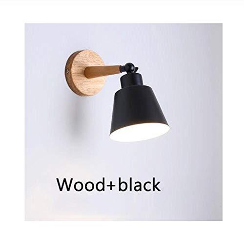 Nordic Wood Wandlampen Slaapkamer Nachtkastje LED-verlichting Macaroon Modern E27 Wandlampen LED Restaurant Bar Verlichting Hout zwart