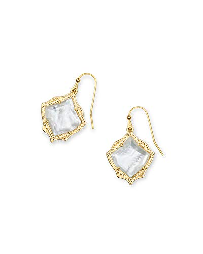 Kendra Scott Kyrie Drop Earrings in White Mother-of-Pearl, 14k Gold-Plated