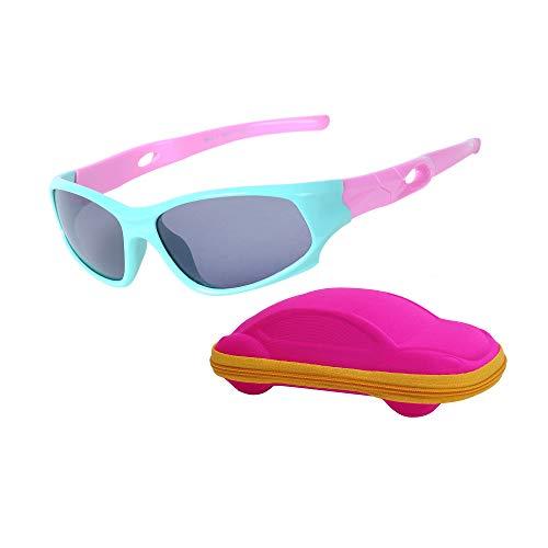Gafas de sol infantiles deportivas polarizadas irrompibles para niños y niñas (3 a 12 años) + cordones para gafas + funda para gafas