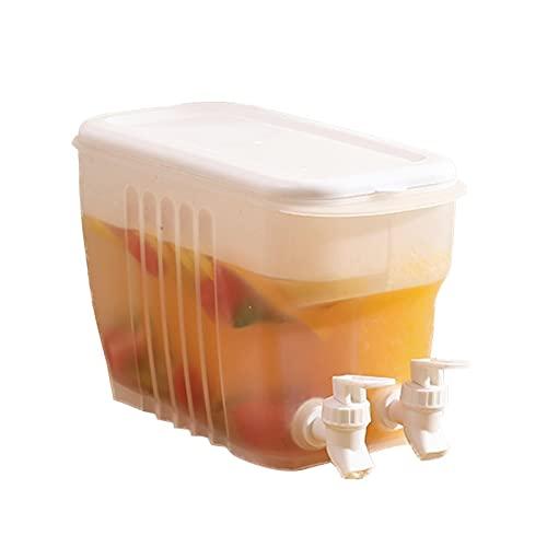 Dispensador De Bebidas Con Grifo, Hervidor Frío Único Transparente De Gran Capacidad Con Doble Grifo, Dispensador De Agua Potable Para Botella De Refrigerador Para Hacer Jugo De Té (11.02x6.69x3.94in)