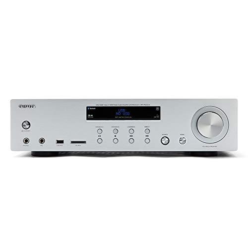 Aiwa AMU-120BTSR: Amplificatore, ricevitore AV di colore argento, con Bluetooth 5.0, 120 W, porta USB, lettore scheda SD