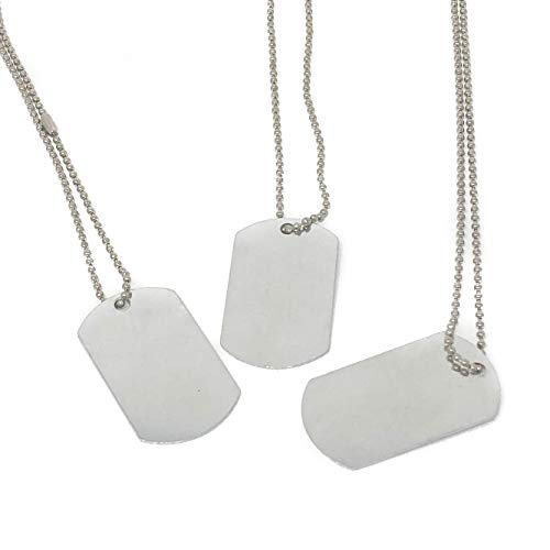 24 Piece Military Dog Tags for Kids - Silver Necklaces