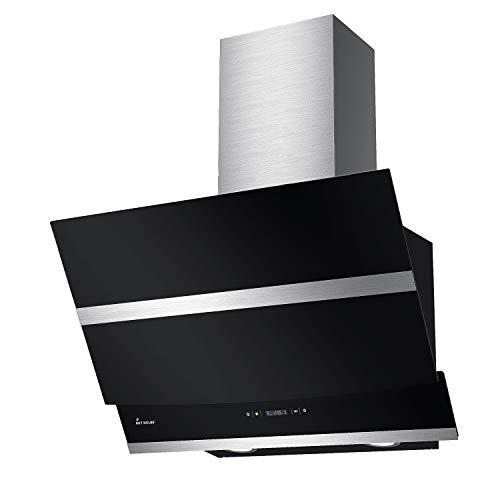 KKT KOLBE Kopffreie Dunstabzugshaube/Wandhaube / 60cm / Edelstahl/schwarzes Glas/LED-Beleuchtung/Sensortasten/Abschaltautomatik / HERMES606S
