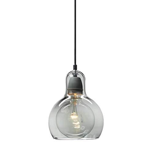Moderna lámpara de techo redonda de cristal, lámpara colgante para la isla de la cocina, bar, balcón, mesa de comedor, fogón, escalera Loft, lámpara E27 4 W LED bombilla incl, humo gris