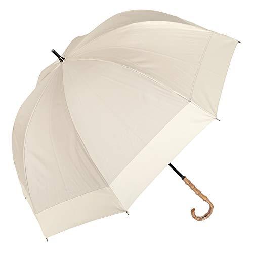 100%完全遮光99%ではダメなんです!100%完全遮光日傘晴雨兼用コンビラージサイズ60cm【竹手元】(シャンパンベージュ×ベージュ)