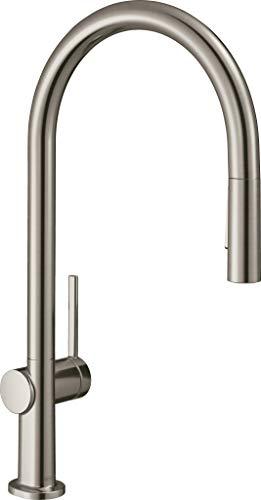 Hansgrohe Talis M54 Grifo monomando de cocina 210, ducha extraíble, 2 tipos de chorro, acabado de acero inoxidable, 72800800