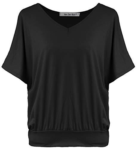 Van Der Rich ® - Oversize T-Shirt mit V-Ausschnitt (Made in Italy) - Damen(Schwarz, L)